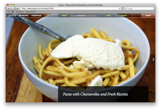Pastawithchanterelles 520x357 With its beautiful recipe curation, Gojee has investors mouths watering
