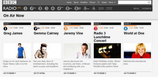 RadioBeta 520x256 The BBC launches a new Labs version of its radio homepage