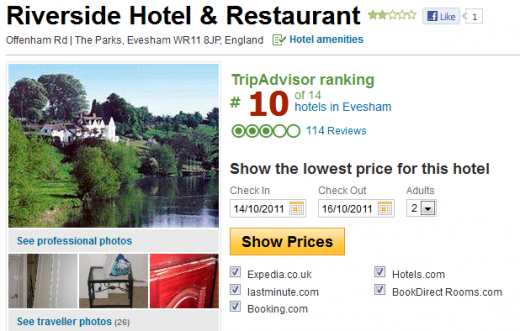 Riverside Hotel Restaurant Reviews and Photos Evesham United Kingdom TripAdvisor 1317386956283 520x331 Hotel faces ruin after TripAdvisor red flags it over a fake review