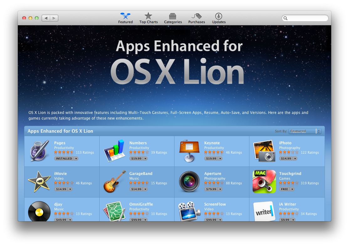 Mac App Store gets 'Enhanced for OS X Lion' section