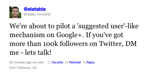 Screen Shot 2011 09 02 at 20.28.56 520x252 100k+ followers on Twitter? Google+ may put you on its new suggested user list