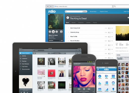 Screen Shot 2011 09 15 at 03.58.45 520x377 Battle of the cloud music players: Rdio goes free AND ad free. But how?
