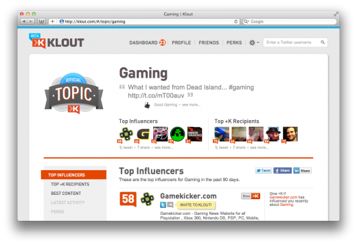 Screen Shot 2011 09 15 at 8.43.40 AM 520x357 Social analytics tool Klout rolls out Topic Pages