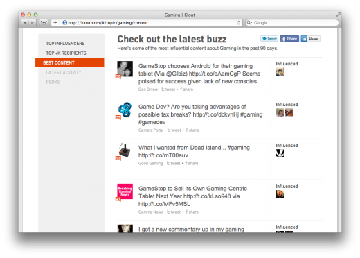 Screen Shot 2011 09 15 at 9.24.21 AM 520x372 Social analytics tool Klout rolls out Topic Pages