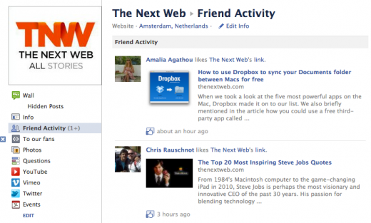 Facebook adds Friend Activity to Pages, so you can stalk