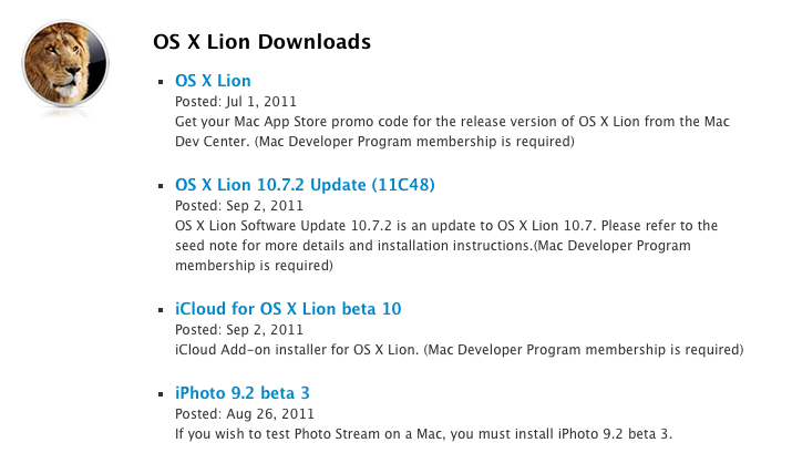 Apple releases OS X Lion 10.7.2 beta and iCloud beta 10 to developers