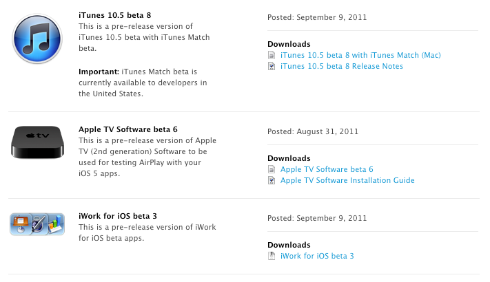 Apple releases iTunes 10.5 beta 8 and iWork for iOS beta 3 to developers