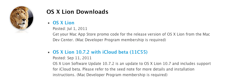 Apple releases OS X Lion 10.7.2 with iCloud beta build 11C55 to developers