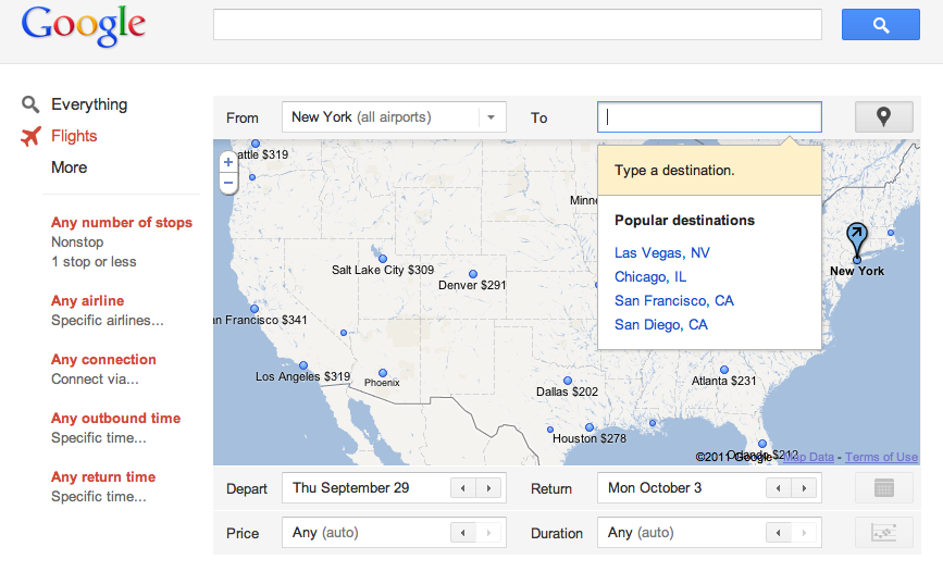 Screen shot 2011 09 13 at 2.08.08 PM Google launches its first ITA travel product: Google Flights