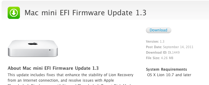 Apple EFI firmware update 2 2 for Macbook Pros and 1 3 for Mac minis