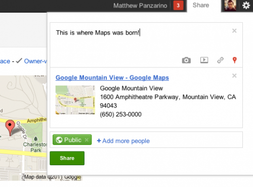 Screen shot 2011 09 14 at 9.08.55 AM 500x369 Google announces +snippets on Maps for easy sharing on Google+