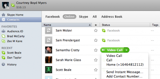Screen shot 2011 09 15 at 10.28.07 AM 520x257 Latest Skype for Mac Beta has Facebook integration and ads