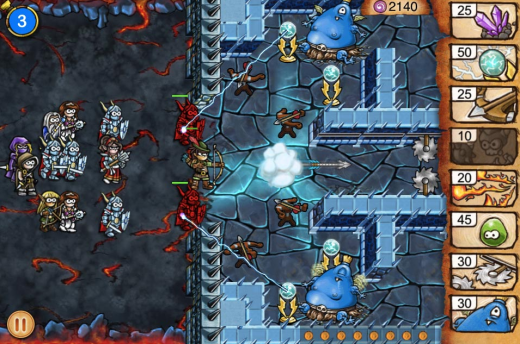 Screen shot 2011 09 16 at 4.58.31 PM 520x344 Tiny Heroes is a beautiful tower defense iPhone game with a Dungeon Keeper vibe