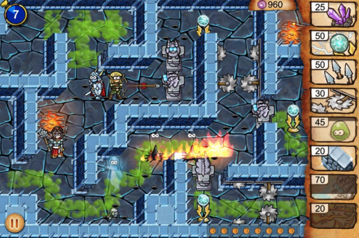 Screen shot 2011 09 16 at 4.58.44 PM 520x345 Tiny Heroes is a beautiful tower defense iPhone game with a Dungeon Keeper vibe