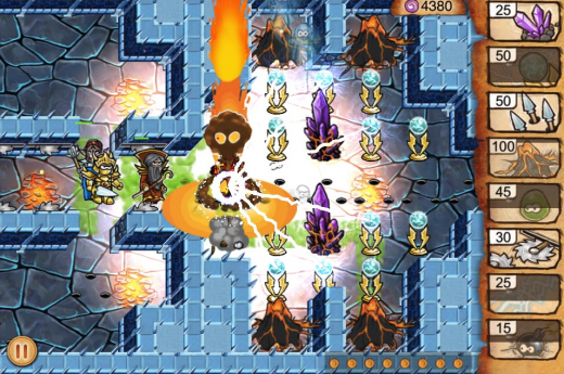 Screen shot 2011 09 16 at 4.58.54 PM 520x345 Tiny Heroes is a beautiful tower defense iPhone game with a Dungeon Keeper vibe