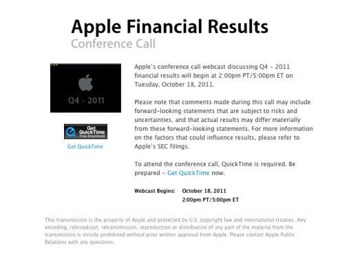 Screen shot 2011 09 26 at 1.45.48 PM 520x386 Apple to announce Q4 2011 financial results on October 18th