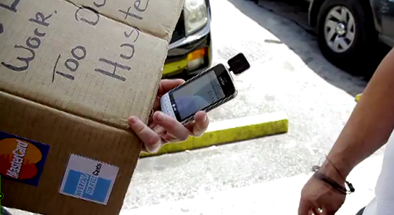 Homeless Guy makes more money using Square and mobile payments