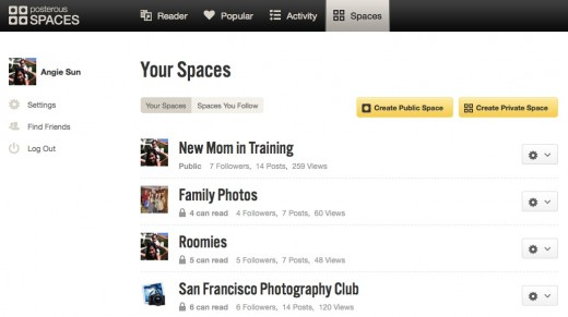 Spaces Settings 520x291 Posterous gets a massive revamp. New Web app, new iPhone app and introduces Spaces.