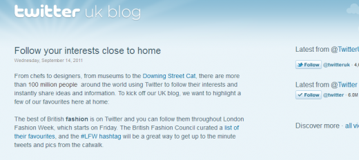 Twitter UK 1315996984371 520x232 Twitter continues its European focus with a new UK Blog