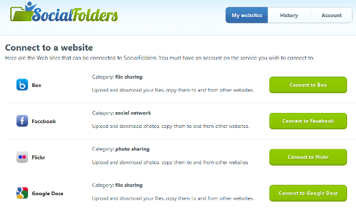 connect SocialFolders is like Dropbox for your data from Facebook, Flickr, Google Docs and more [Invites]