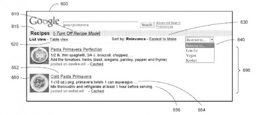 google1 500x226 Google patent could integrate jobs, recipes and more into main search interface