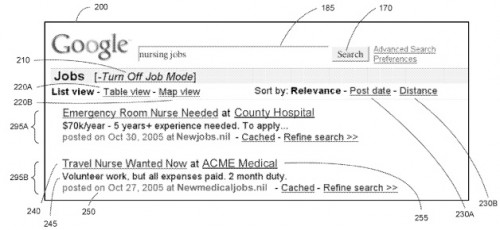 google2 500x230 Google patent could integrate jobs, recipes and more into main search interface