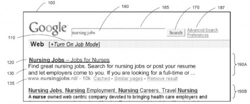 google3 500x209 Google patent could integrate jobs, recipes and more into main search interface