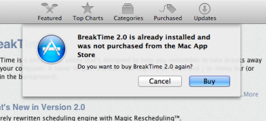 macappstorewarning2 254321 Mac App Store now warns that youve already purchased an app elsewhere