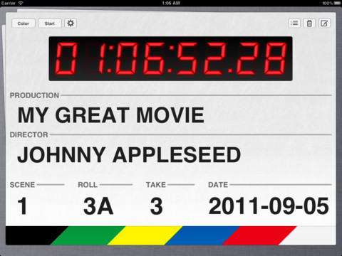 mzl.cqiskgak.480x480 75 Take One is a polished clapperboard iPad app for moviemakers