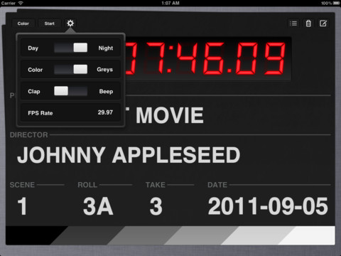 mzl.oaamdcab.480x480 75 Take One is a polished clapperboard iPad app for moviemakers
