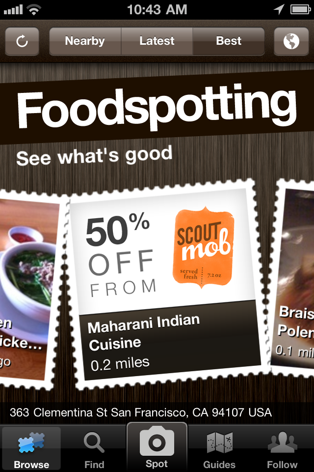 scoutmob screenshot pure Foodspotting partners with Scoutmob to serve up delicious deals