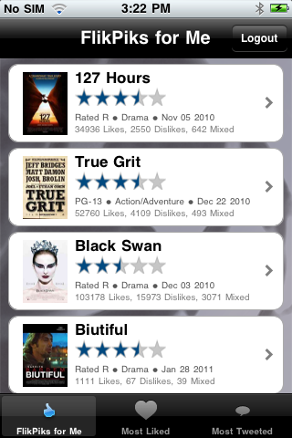 screenshot5 Crowdsource your movie choices, then buy tickets or queue on Netflix with FlikPiks
