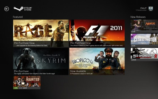 steam1 520x325 If Steam was remade for Windows 8