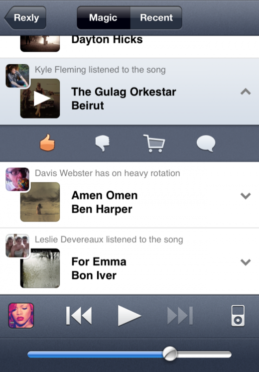 stream 520x747 Rexly for iPhone creates the social music experience that Ping never could