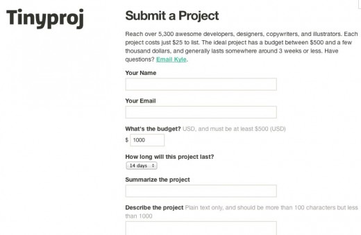 tinyproj 520x339 Tinyproj: a minimalist approach to finding a quality designer or developer for your project