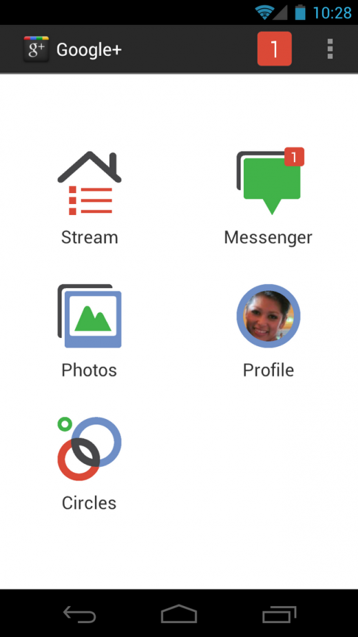 1 homescreen PIC 1 520x924 Google+ for Android updated with new design