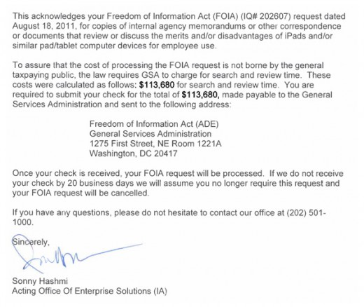 FOIA ipads 520x438 What to know what US agencies think of the iPad? Thatll cost you $113,680