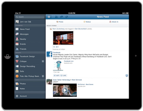 Facebook for iPad Launch Facebook releases its official iPad app