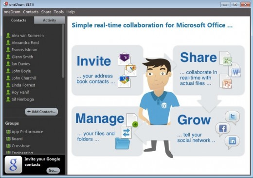 FirstScreen 520x365 OneDrum: A P2P desktop app for Microsoft Office that lets you collaborate in real time