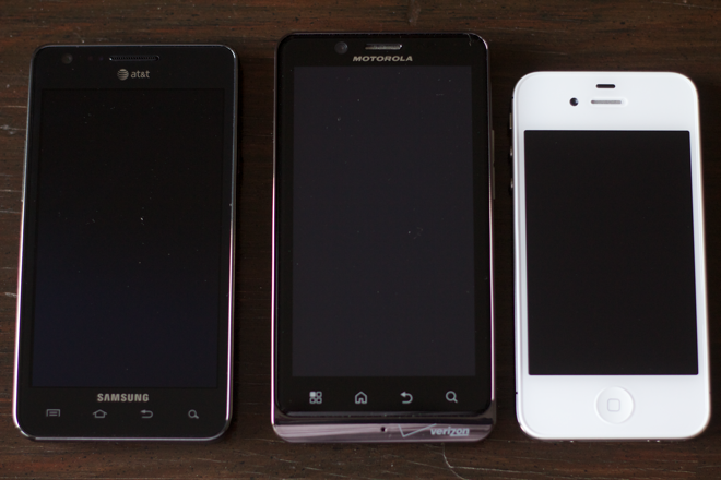 A practical comparison of the Apple iPhone 4S, Samsung Galaxy S II and Motorola Droid Bionic