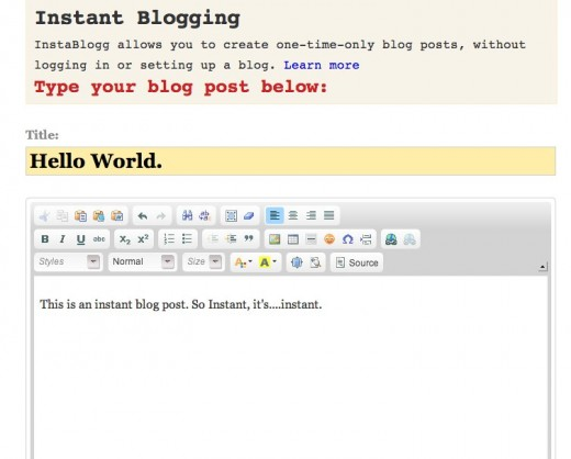 InstaBlogg One time blogging 520x418 Instablogg lets you create and share a blog post without even signing up