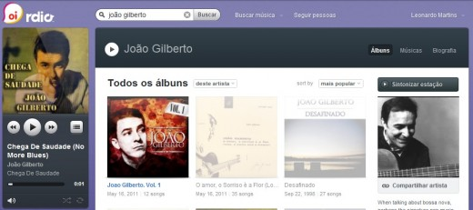 Rdio - screenshot by Gizmodo Brasil