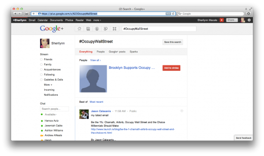Screen Shot 2011 10 04 at 8.33.35 PM 520x308 Google+ lets you search for hashtags, but it isnt quite there yet
