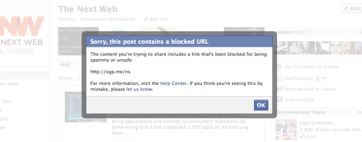 Screen Shot 2011 10 13 at 10.11.07 520x204 Oops   Facebook accidentally blocks websites that use its own Open Graph Protocol