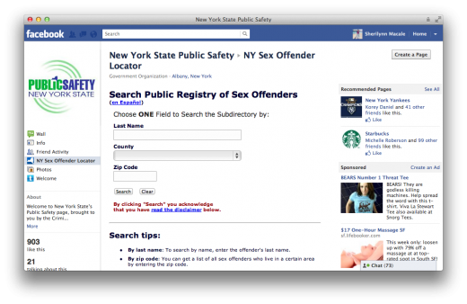 Screen Shot 2011 10 17 at 1.27.23 PM 520x338 New York State now offers a Sex Offender Locator app on Facebook