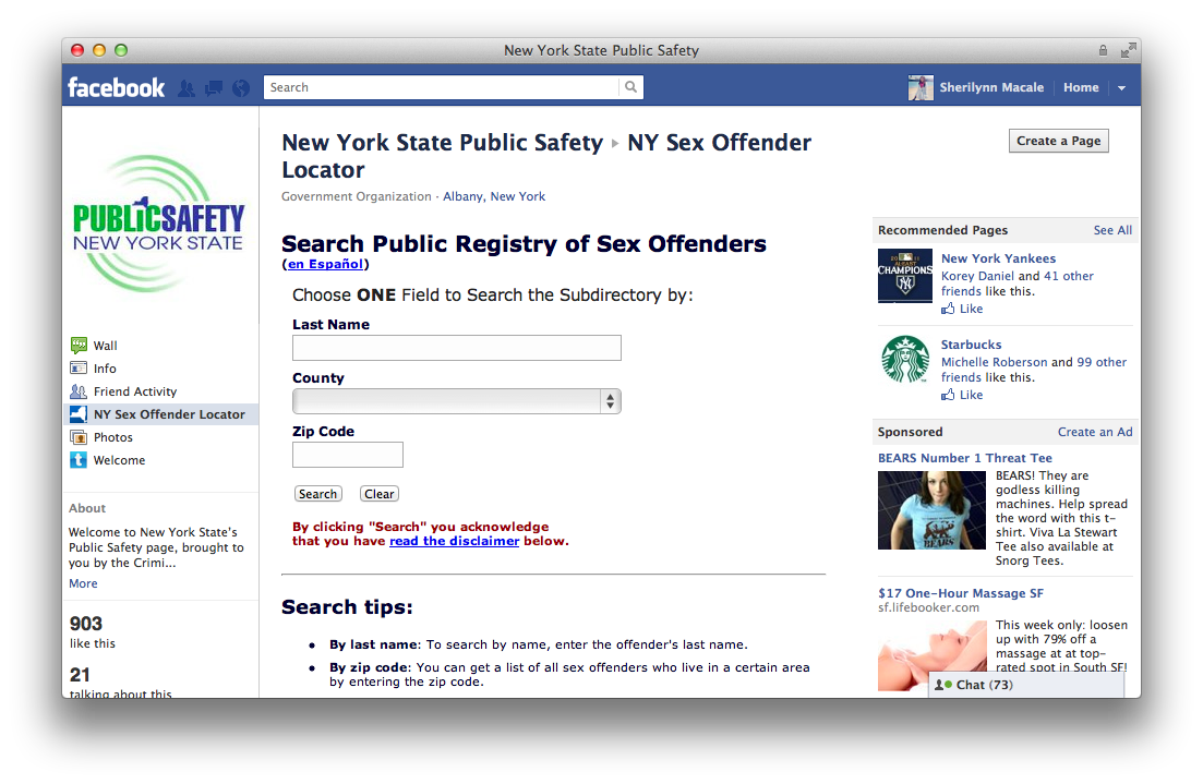 sex offenders and facebook