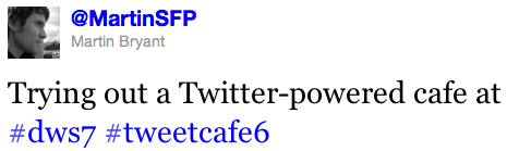 Screen Shot 2011 10 27 at 12.22.51 Twitter powered cafe lets you tweet for a treat