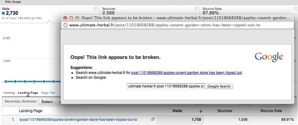 Google Analytics displaying random websites