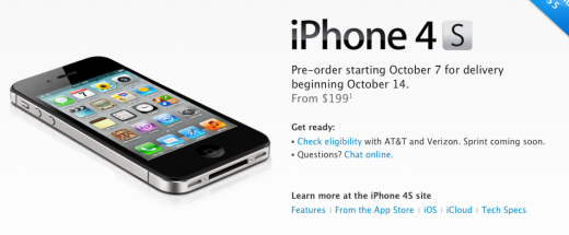 Screen shot 2011 10 04 at 11.57.35 AM 520x215 Apples iPhone 4S officially coming to Sprint for $199 16GB, $299, 32GB and $399 64GB