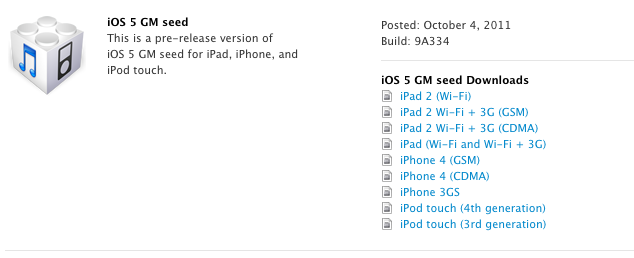 Apple seeds iOS 5 and Xcode 4.2 Gold Master beta build to developers
